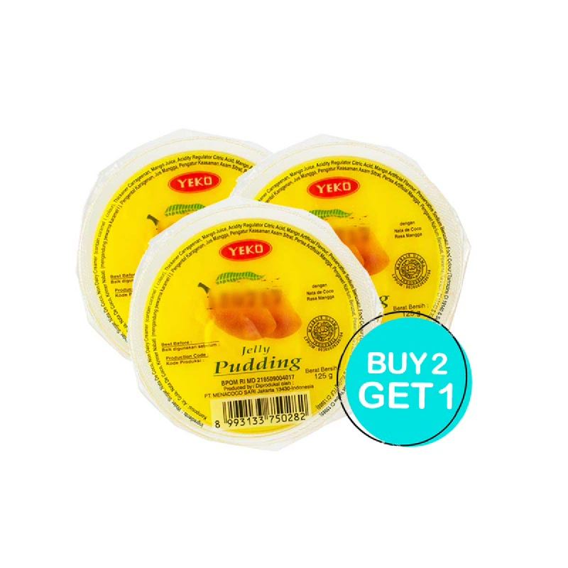 Yeko Jelly Pudding Mangga 125 Gr (Buy 2 Get 1)