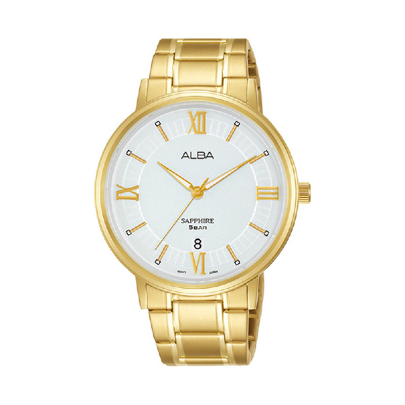 Alba AS9L20X1 Men Silver Patterned Dial Gold Stainless Steel Strap