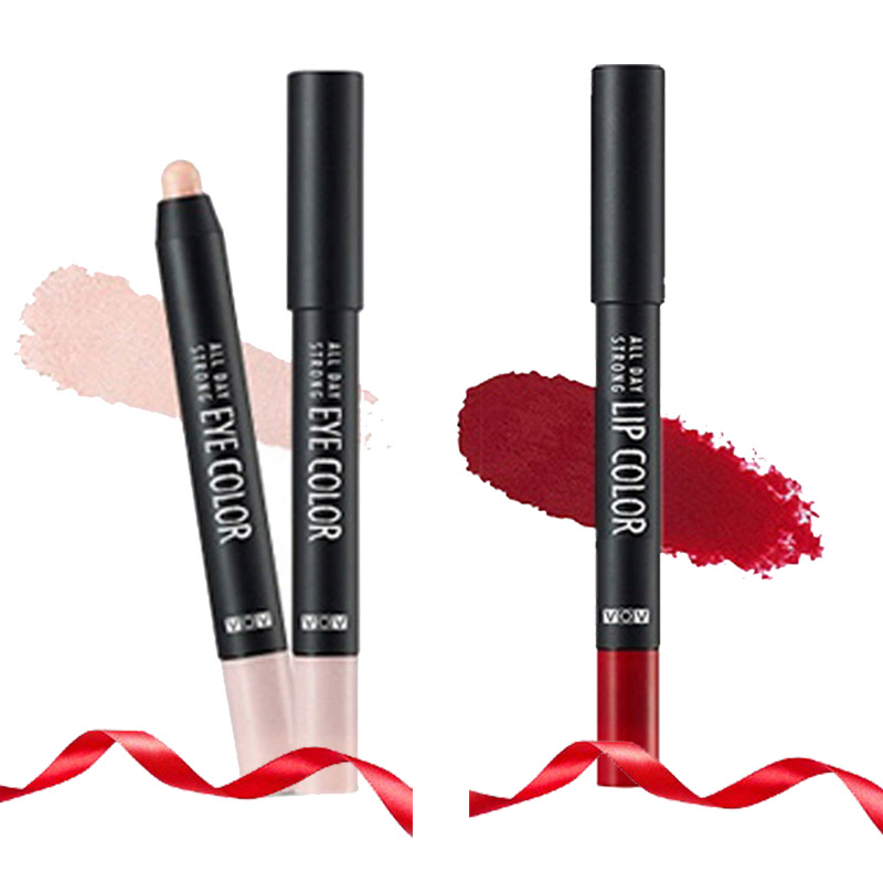 VOV All Day Strong Eye Color PK 101 Dia Bouquet + All Day Strong Lip Color PK 301 Red Rising