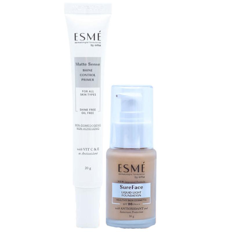 Erha VP ESME Matte Sense + Sureface Foundation (LIGHT IVORY) - Primer Makeup + Alas Bedak