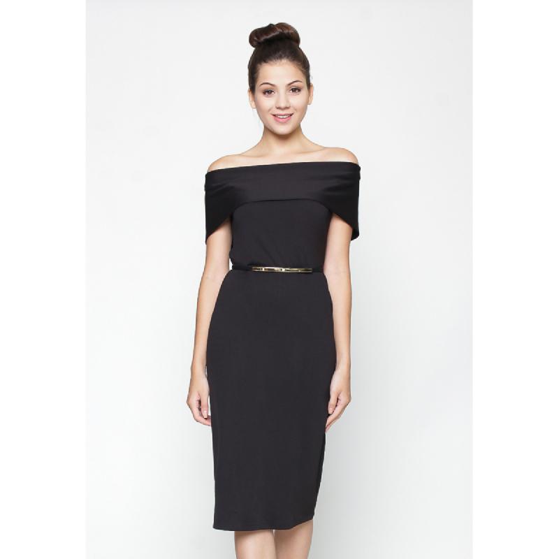 Agatha Hana Off Shoulder Basic Dress Black