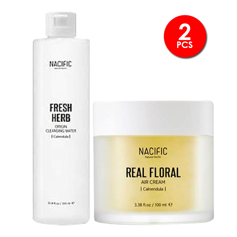 Nacific Floral Calendula Cleansing Set (Cleansing Water + Air Cream)