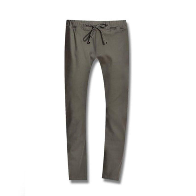 Stone Washing Banding Cotton Pants - Khaki