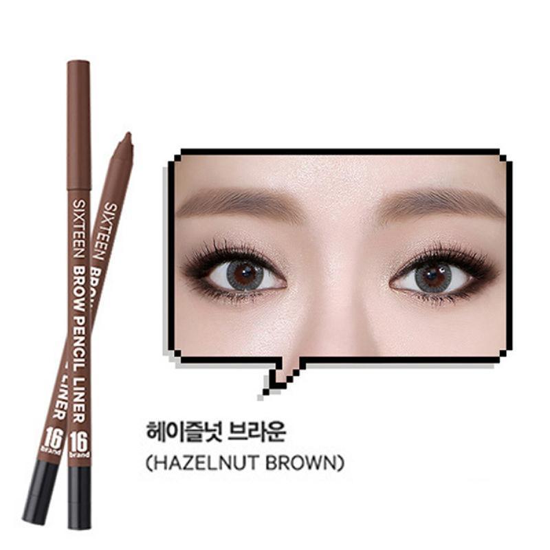 16brand Brow Pencil Liner - Hazelnut Brown