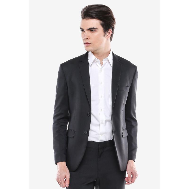 Slim Fit Formal Suits Black Blue Patch