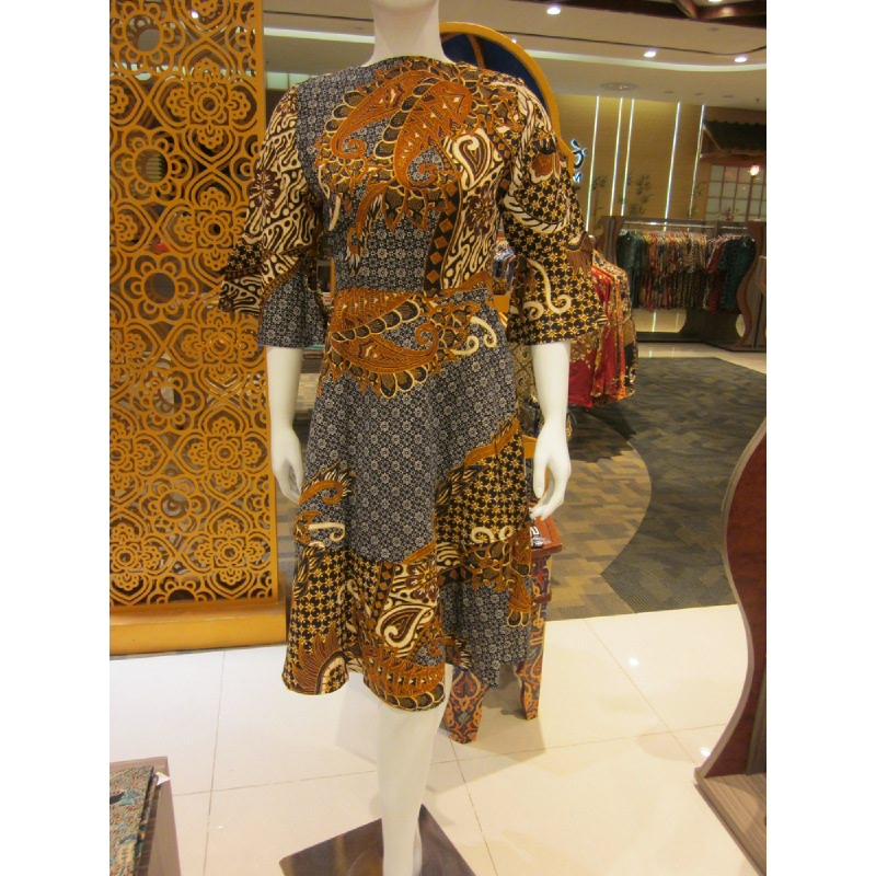 Batik Semar Hera Dress Doby Jajar Kusuma 52 Sogan Brown (Size M,L)