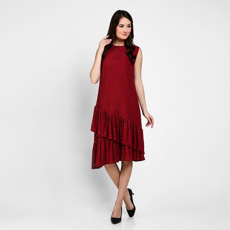Basa Selena Dress Red Brokat
