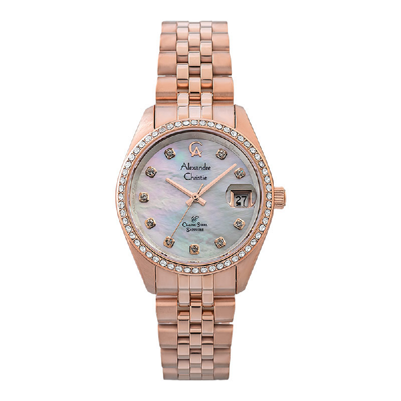 Alexandre Christie AC 5012 LDBRGMS White Mother Of Pearl Dial Rose Gold Stainless Steel Strap