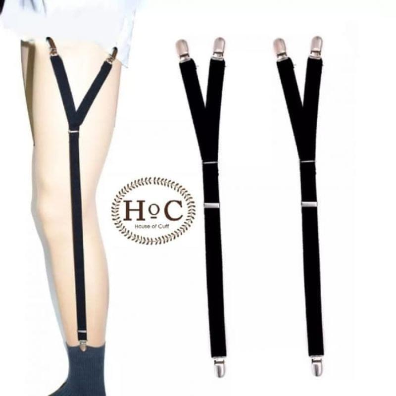 House Of Cuff Shirt Garter Suspender Belt Penarik Baju Shirttail Garter Steel - Hitam