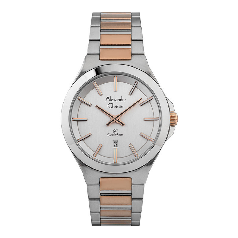 Alexandre Christie Classic Steel AC 8634 MD BTRSL Men Silver Dial Dual Tone Stainless Steel Strap