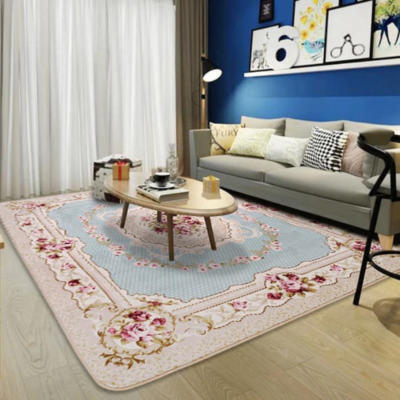 Karpet selimut karmut bunga classic vintage empuk lembut 130 x 190 cm - Baby Blue
