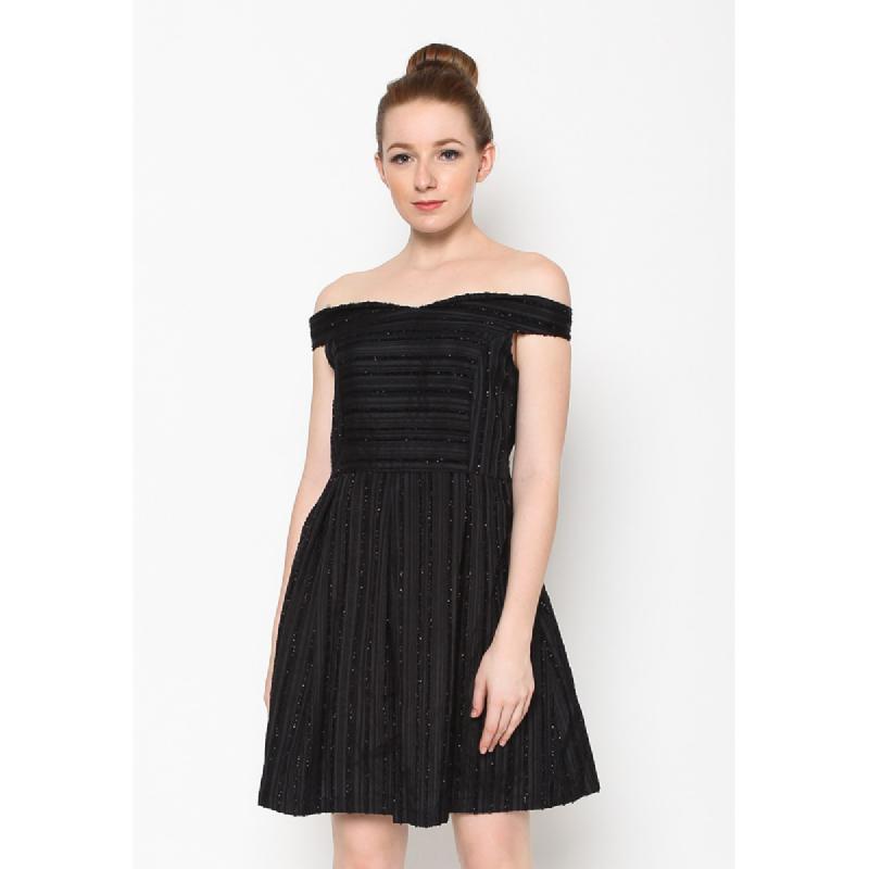 Agatha Off Shoulder Mini Black Dress Black