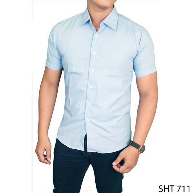 Gudang Fashion Kemeja Pria Formal Slim Fit Pendek Biru Muda SHT 711