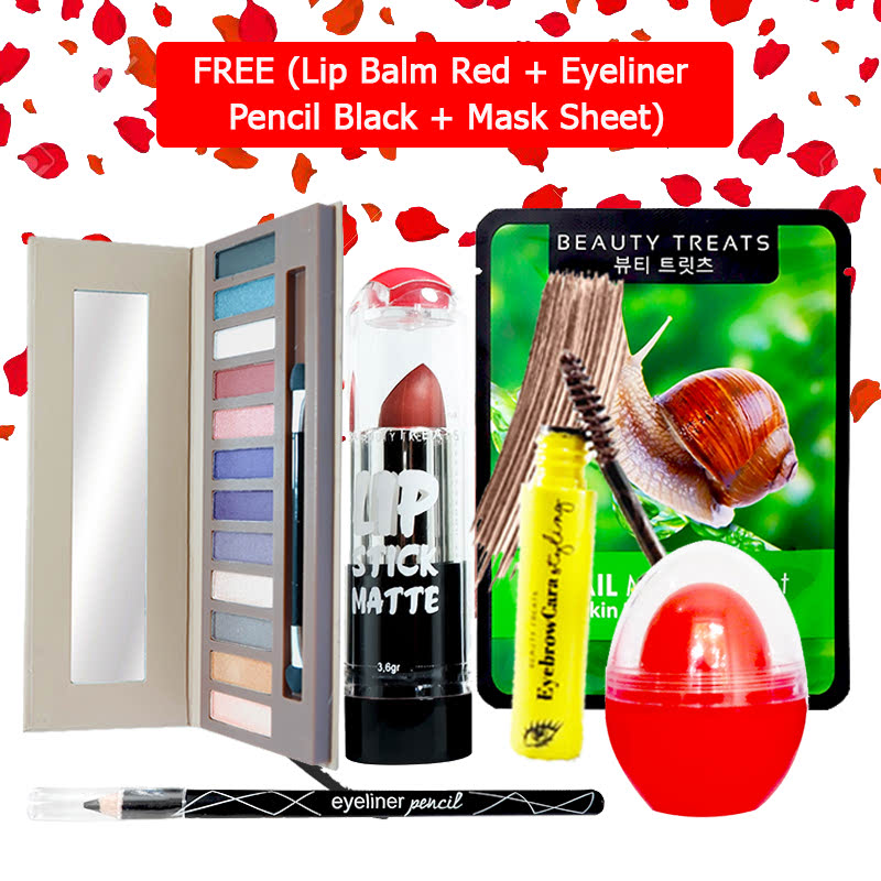 Beauty Treats Make Up Set B (Naked Eyeshadow No. 2 + Lipstick No. 2 + Eyebrowcara Dark Brown) FREE Kiss Me Lip Balm Red + Eyeliner Pencil Black + Mask Sheet Snail