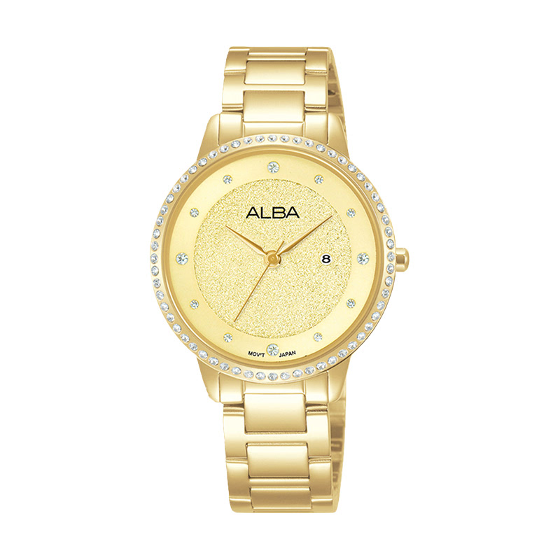 Alba AH7W22X1 Champagne Pattern Dial Gold Stainless Steel Strap