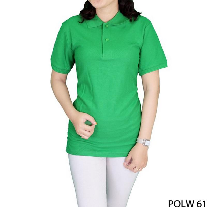Gudang Fashion Basic Polo Shirts Wanita Hijau Fuji Cotton Pique Hijau Fuji
