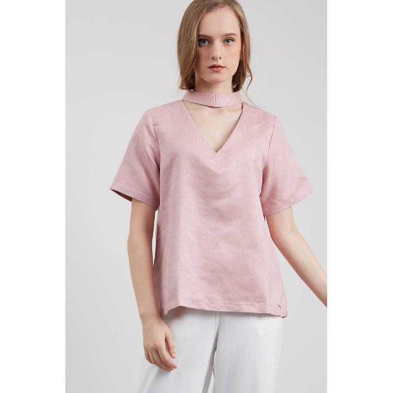 Prina V-Neck Top Pink