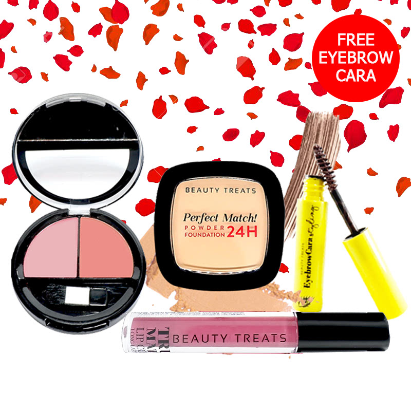 Beauty Treats Make Up Set A (Perfect Match Powder Foundation 24H No. 3 + True Matte Lip Color No. 10 + Duo Blush No. 1) FREE Eyebrowcara Dark Brown