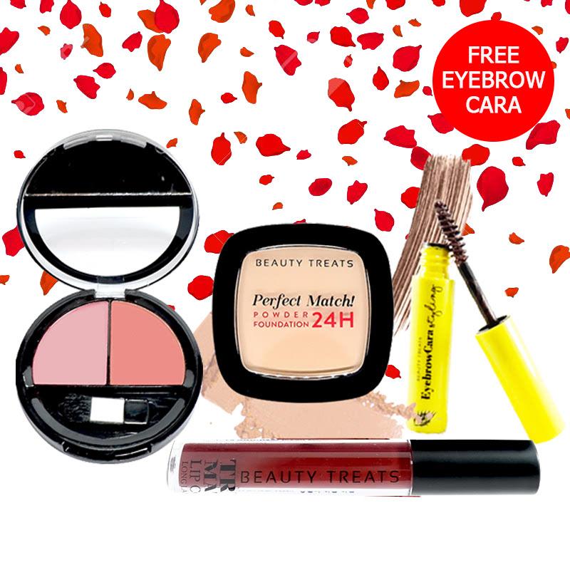 Beauty Treats Make Up Set A (Perfect Match Powder Foundation 24H No. 2 + True Matte Lip Color No. 12 + Duo Blush No. 1) FREE Eyebrowcara Dark Brown