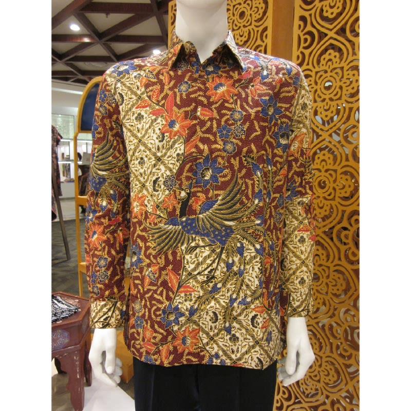 Batik Semar Hem Panjang Merak Isen Sinawur 33 Maroon (SML)