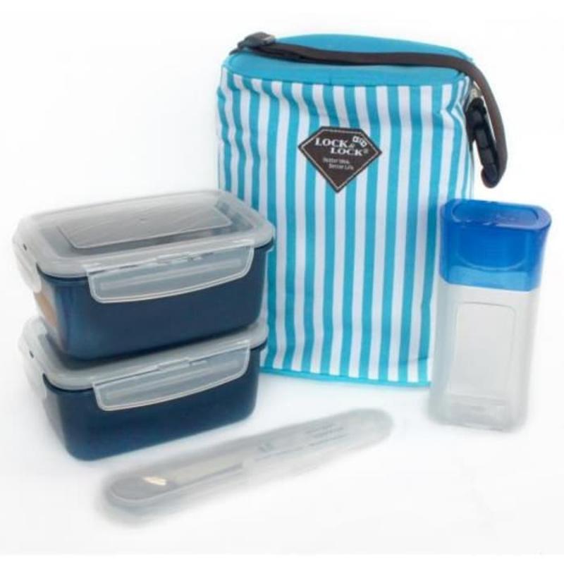 LOCK & LOCK Lunch Box Set 4 Pcs - Blue - ZZF110RIN3B