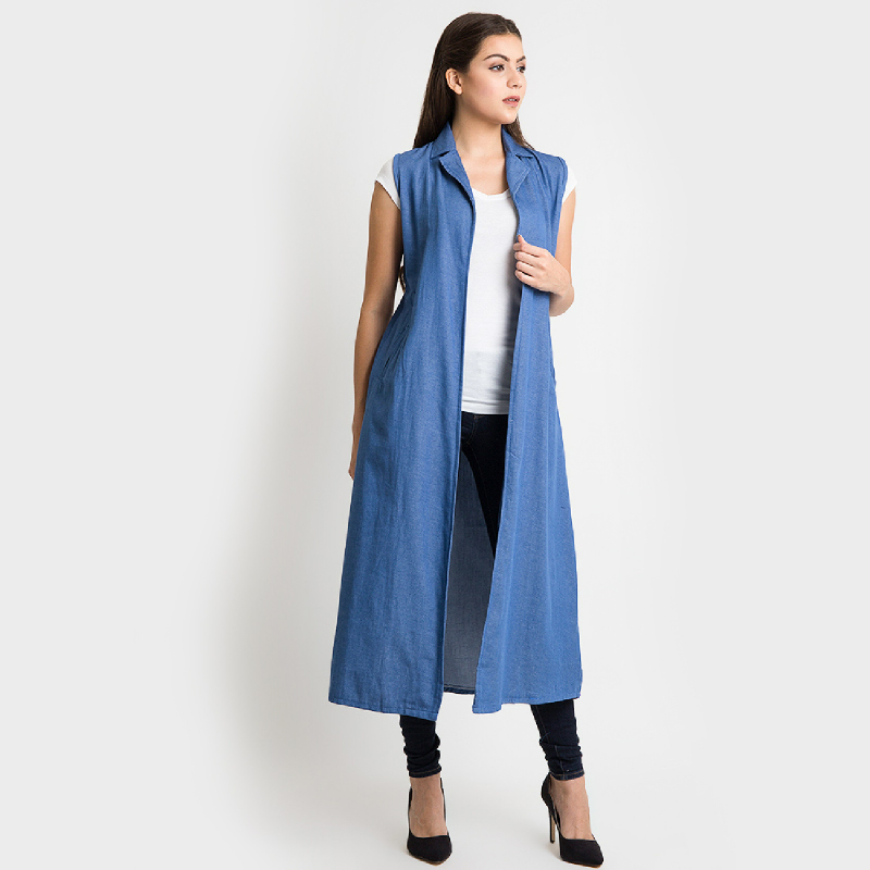 duapola Denim Pocket Long Vest
