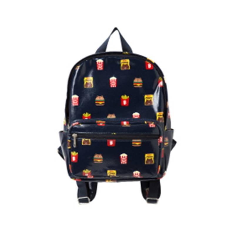 Burger & Chips Pattern Backpack