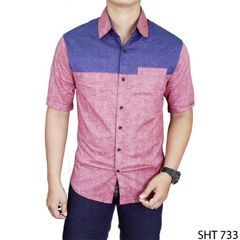 Gudang Fashion Mens Fashion Plain Shirts Merah SHT 733