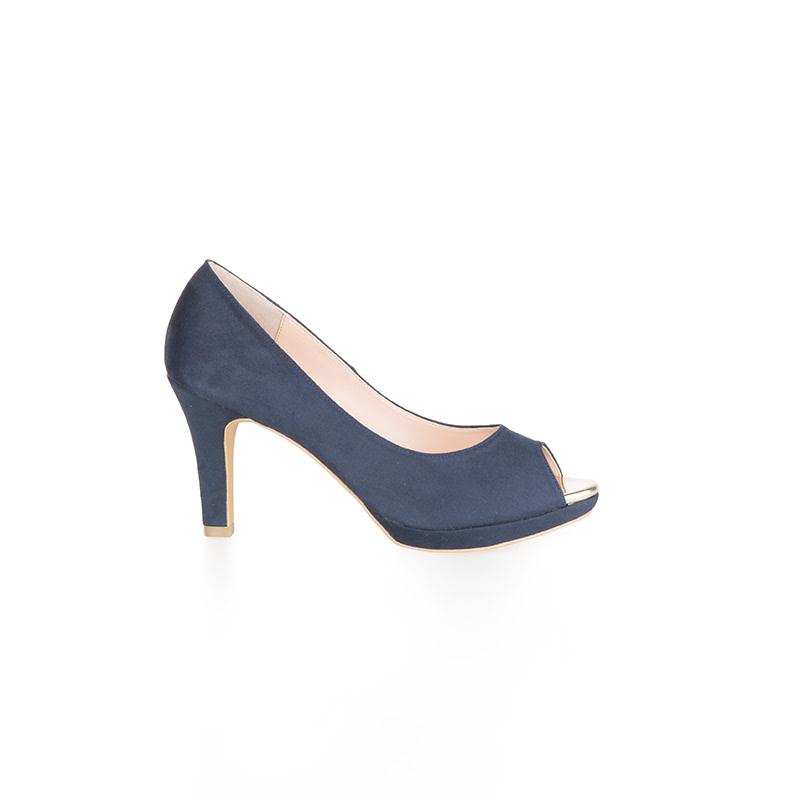 Armira Platform Heels Open Toe Shoes Dark Blue