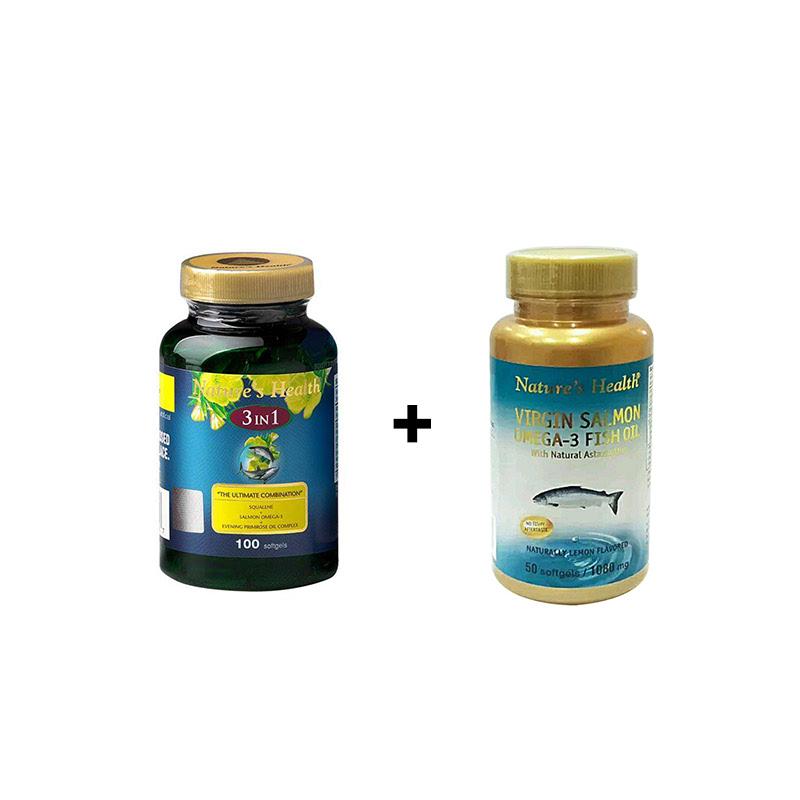 Squalene + Omega + EPO 3 IN 1 - 100 Softgels + Virgin Salmon Omega-3 (Lemon) - 50 Softgels