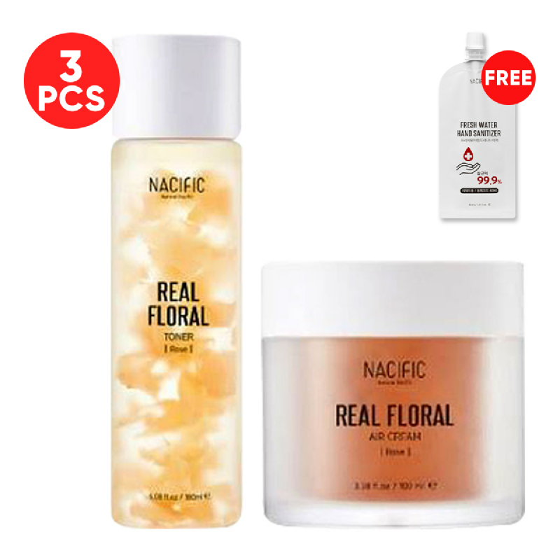 Nacific Real Floral Cleansing Set Rose (Air Cream 100ml + Toner 180ml) FREE Fresh Water Hand Sanitizer 30ml