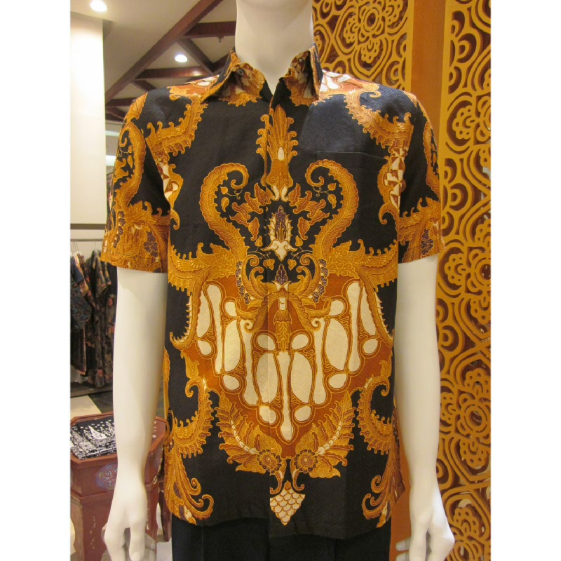 Batik Semar Hem Pendek Full Tricot Daun Mekar 20 Hitam (XL)