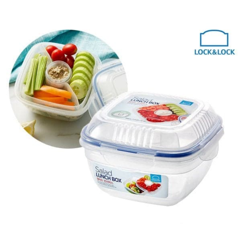 Lock&Lock Salad Lunch Box 950Ml With Tray Sauce Bottle HSM8440T