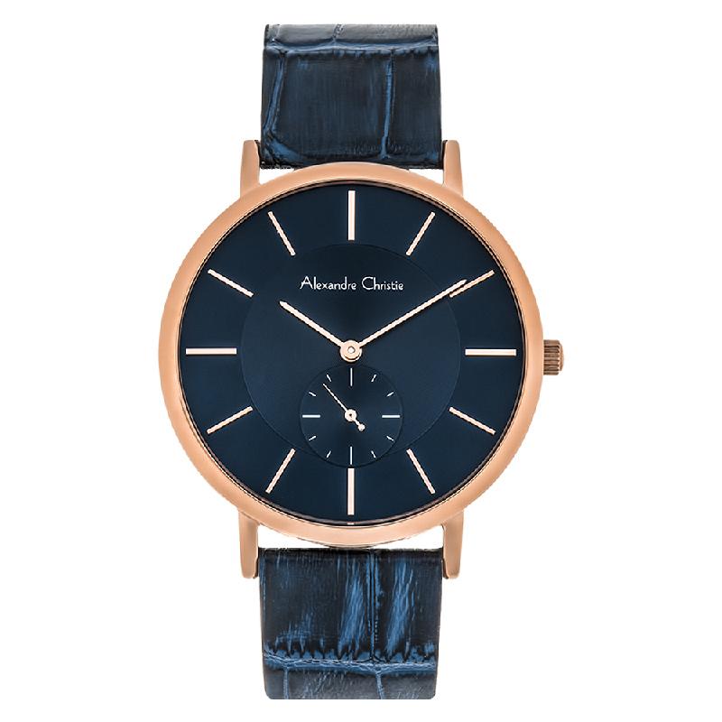 Alexandre Christie AC 8575 MS LRGBU Man Blue Dial Blue Leather Strap