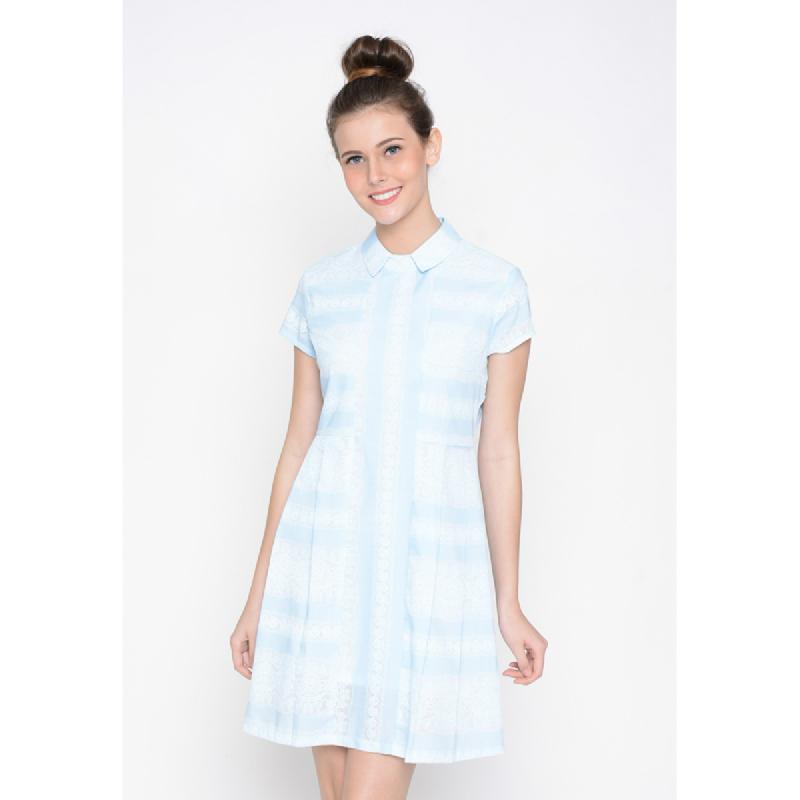 Agatha Strape Skater Dress With Collar Blue