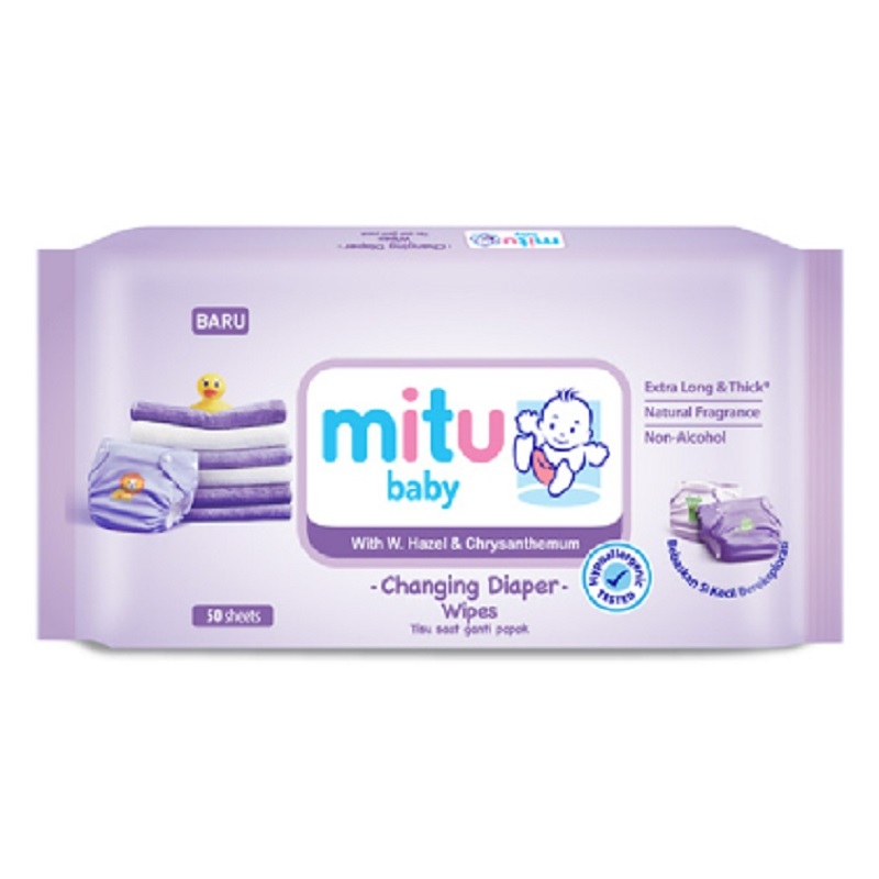 Mitu Baby Wipes Purple 50 Sheet