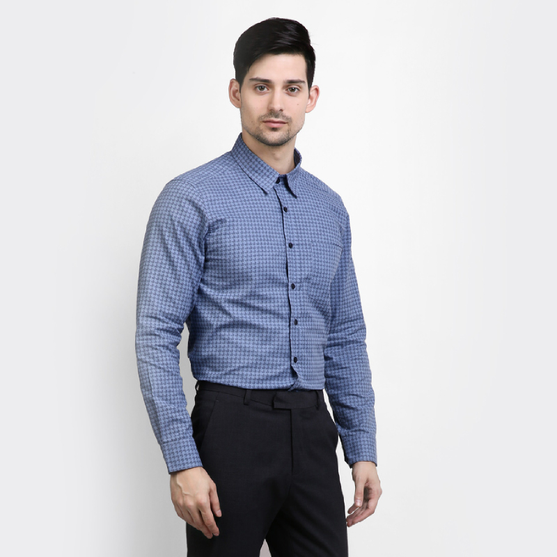 Yege Men Shirt Long Sleeve Modern Blue