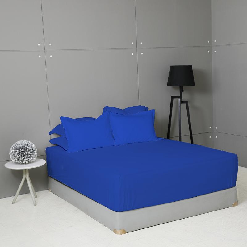 King Rabbit Set Seprei Sarung Bantal Extra King Size 200x200x40 cm Motif Essential Regata - Blue