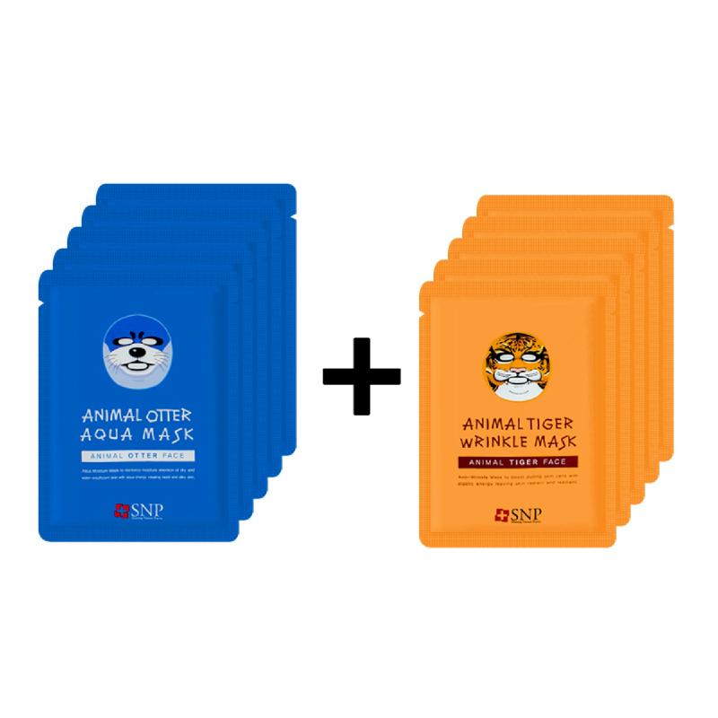 Snp Animal Otter Aqua Mask 5Pcs + Snp Animal Tiger Wrinkle Mask 5Pcs