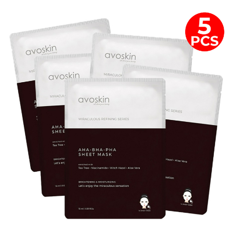 Avoskin Miraculous Refining AHA+BHA+PHA Sheet Mask 15gr (5pcs)
