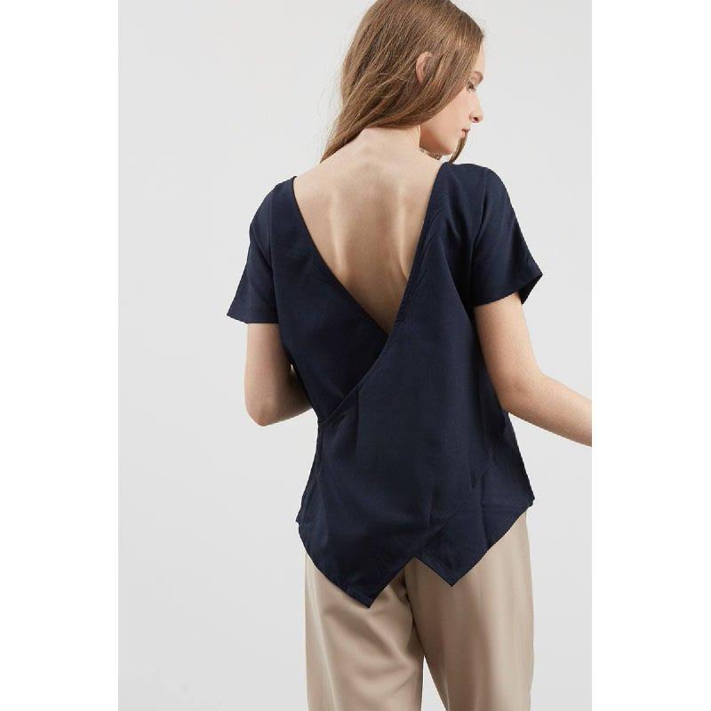 Eldes Blue V-Back Top