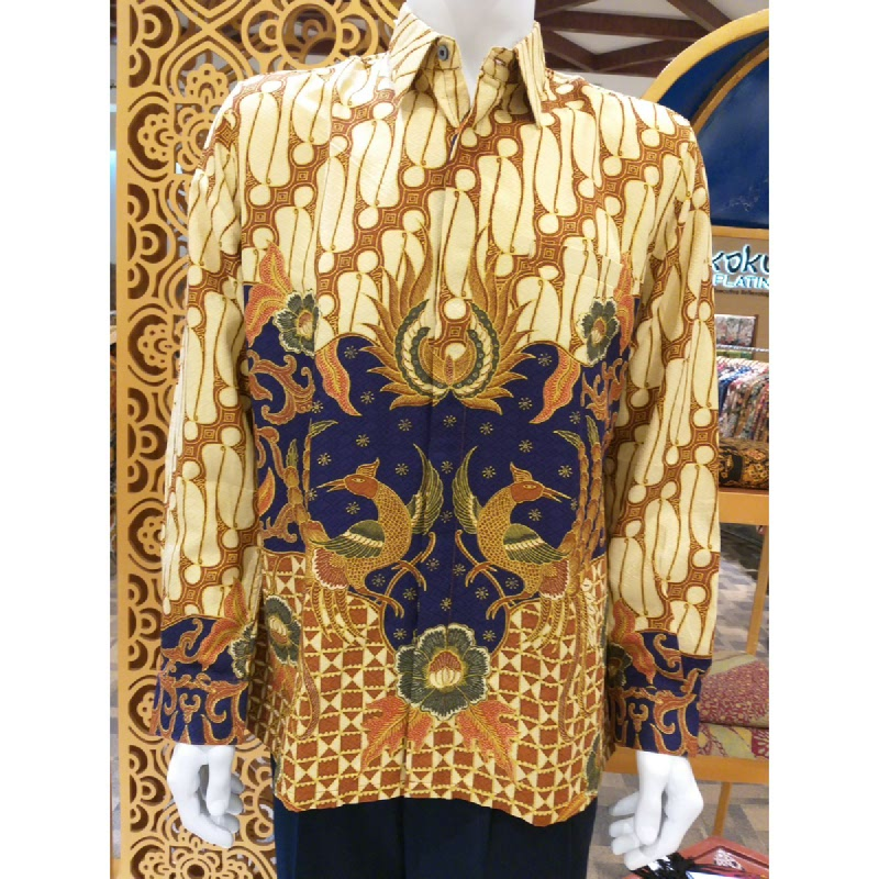 Batik Semar Pria Hem Panjang Full Tricot Buket Setelon 40 Biru Size 5L