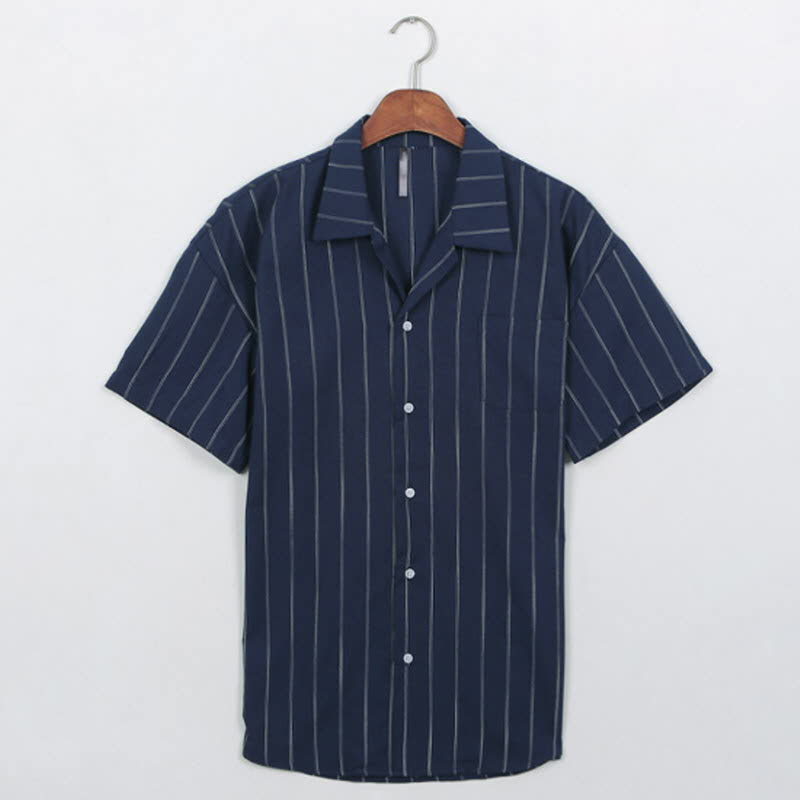 Lower Stripe Short Sleeve Shirt Navy
