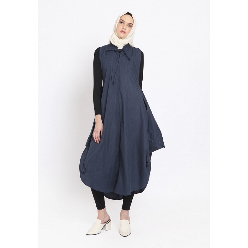 Heart And Feel Tie Neck Wing Detailed Outwear Navy