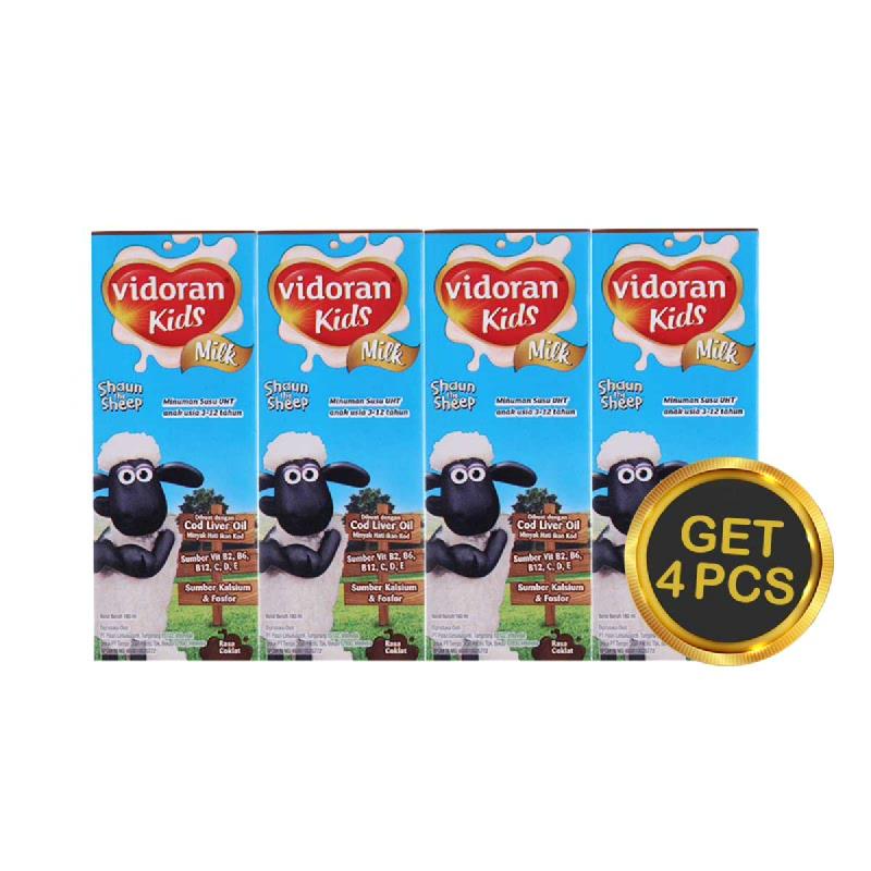 Vidoran UHT Kids Coklat Tp 180 Ml (Get 4)