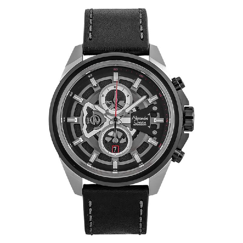 Alexandre Christie AC 6504 MC LTBBA Sport Chronograph Men Skeleton Dial Black Leather Strap
