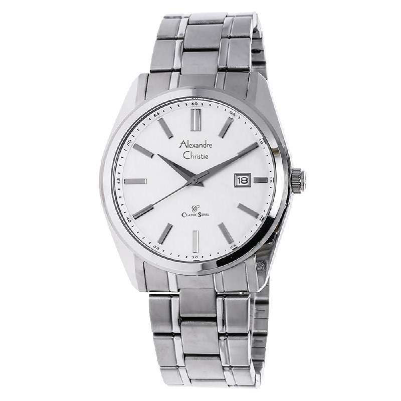 Alexandre Christie AC 8514 MD BSSSL White Dial Stainless Steel