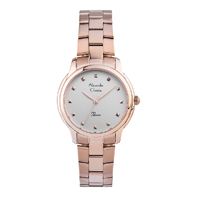 Alexandre Christie Passion AC 2835 LH BRGSL Ladies Silver Dial Rose Gold Stainless Steel