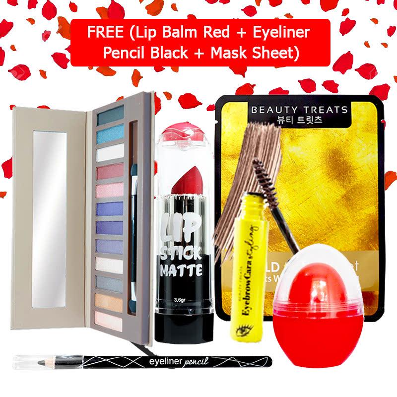Beauty Treats Make Up Set B (Naked Eyeshadow No. 2 + Lipstick No. 4 + Eyebrowcara Dark Brown) FREE Kiss Me Lip Balm Red + Eyeliner Pencil Black + Mask Sheet Gold