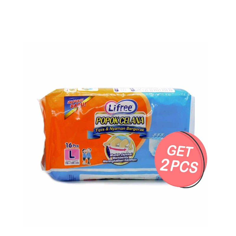 Lifree Popok Celana Tipis & Nyaman Biru M 20 S (Get 2)